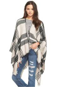 Ivory and Black Poncho
